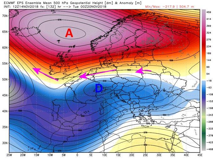 Situación de bloqueo anticiclónico para los próximos días. con entrada de aire continental es muy probable que nieve en algunas zonas de Europa @infonieve @ElTiempoes