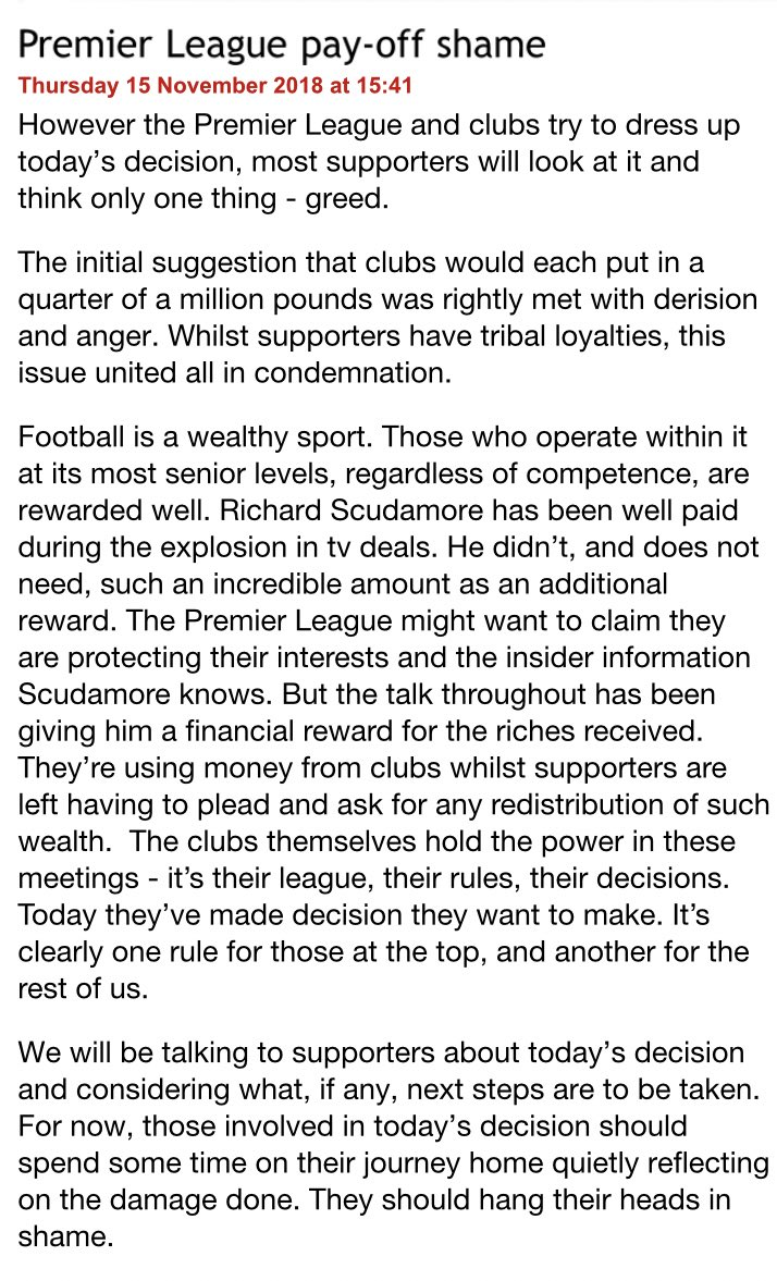 The pay-off to Richard Scudamore is shameful. The good work done by @LFC in the community and with supporters is overshadowed by such greed and misjudgement. SOS statement here 👇 spiritofshankly.com/news/premier-l…