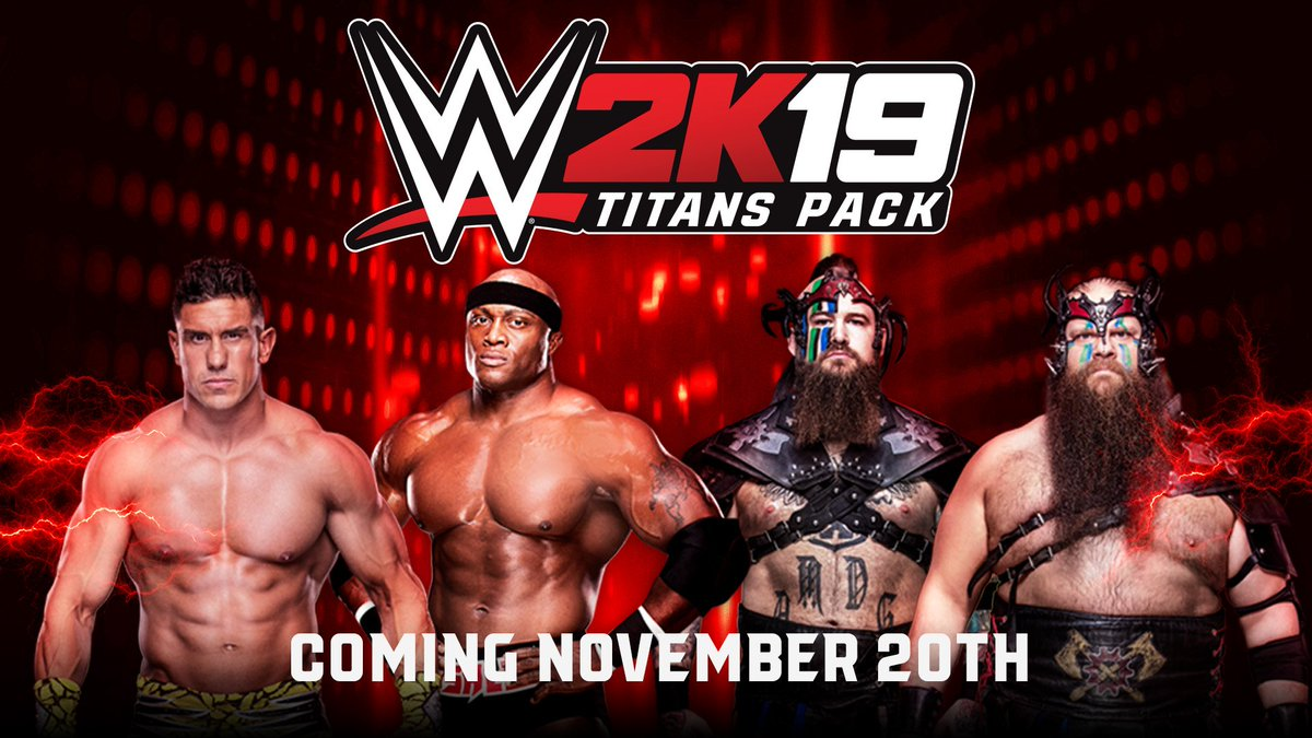 The #WWE2K19 Titans Pack releases November 20th! Who are you going to play as first? @therealec3 @fightbobby @RAYMONDxROWE @WarBeardHanson