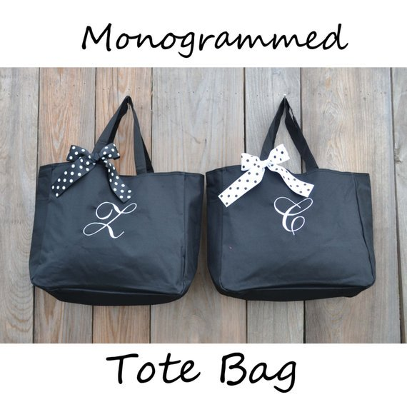 Set Of 10 Personalized Tote Bags Gifts For Her Mom Teacher Monogrammed Bag Gift Bridesmaid Ideas Setof10 113 00