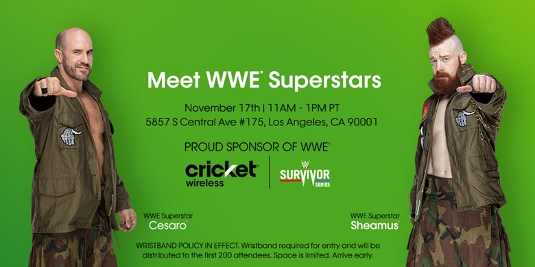 If you're in #LA on Nov. 17, come raise #TheBar with me and Big Tony @WWECesaro @CricketNation! We hope to see you there! mycrick.it/WWEEvent_LosAn…
