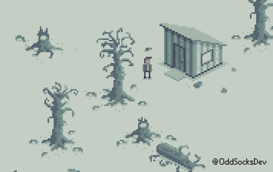 Yay, trees. But... very poorly trees  Poor Bob... he never gets a break. At least he found his yellow tie though.  #indiedev #gamedev #indiegame #pixelart #aseprite<br>http://pic.twitter.com/ND0ZWAkpQj