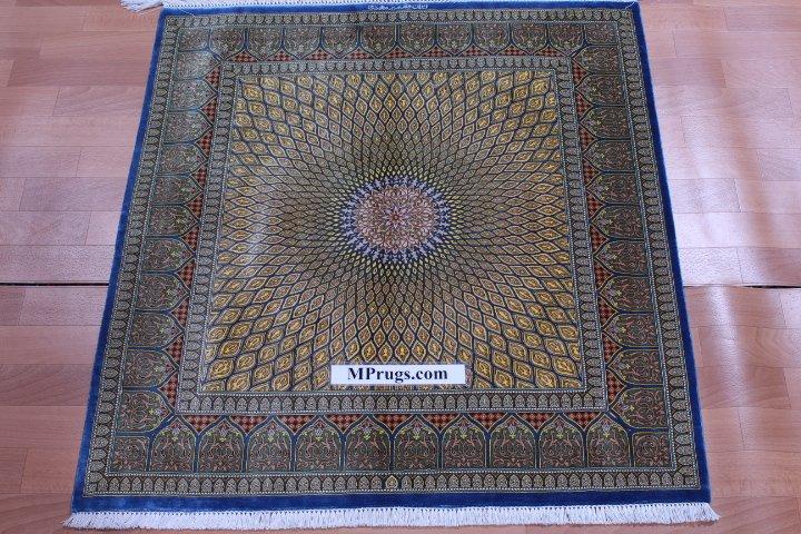 Square Qom Persian Rug Signed