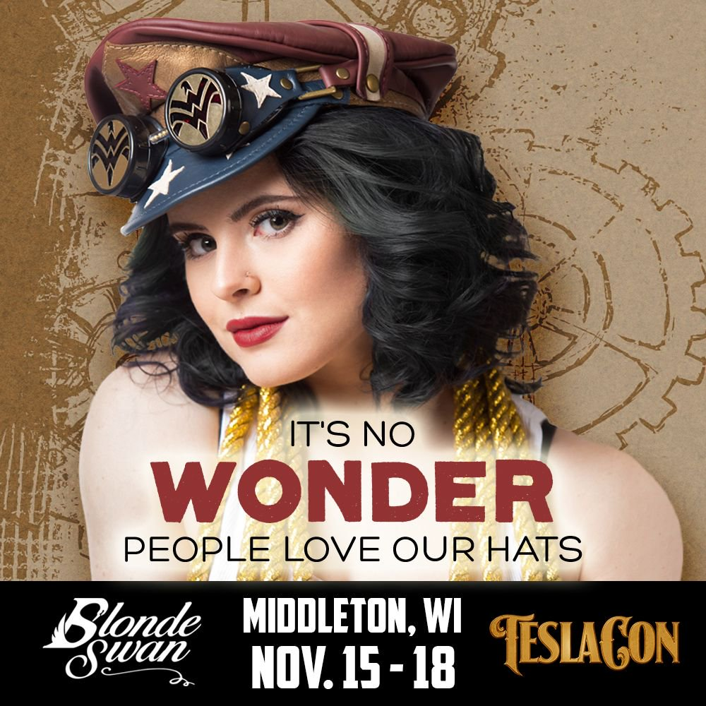 We don't need a Lasso of Truth to find out what people think of our collection of vintage hats. 😘 The Vintage Wonder Woman-inspired Crush Cap is a Blonde Swan best seller. Get yours at Teslacon this weekend or on Etsy! https://t.co/jwZQe2lcOS #wonderwoman #steampunk #hats
