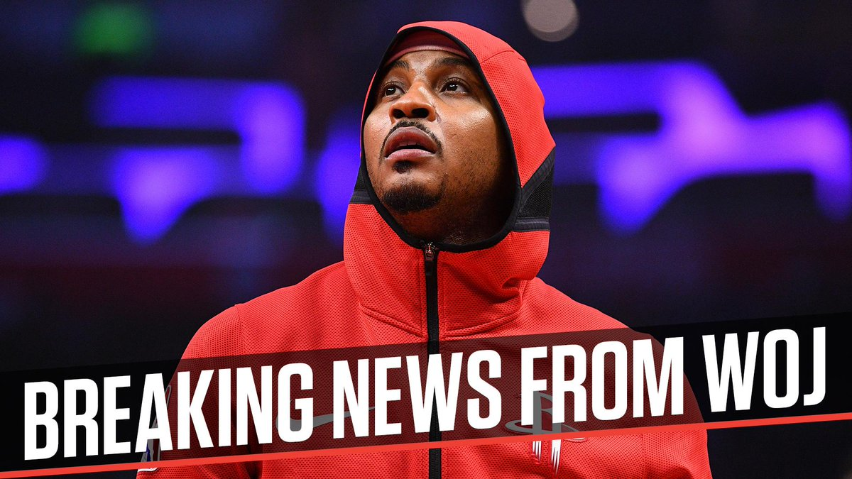 Breaking: Carmelo Anthony and the Rockets are parting ways, league sources tell @wojespn.