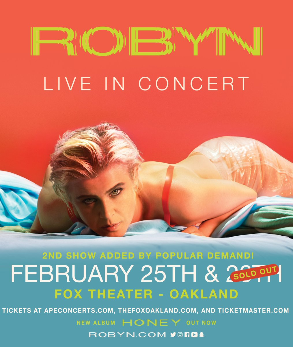Adding a second show at Fox Theatre in Oakland, the password for tickets is DYAFA