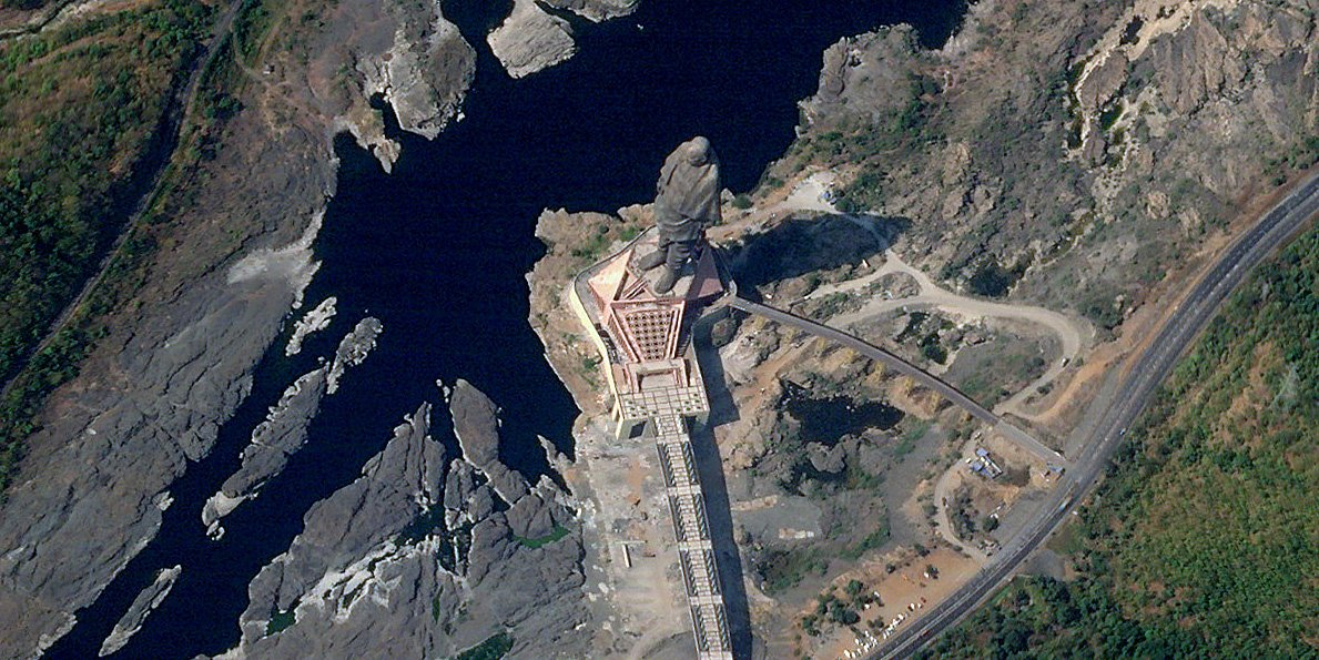 This is how Gujarat's Statue of Unity appears from space