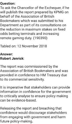 The cover-up stinks as always. No, says the Chancellor, you cant see the secret bookies report (ghost-written by KPMG) used to justify the grubby, flawed decision to delay the FOBT stake reduction. Its commercially sensitive, says his office. No it isnt. Its pathetic.