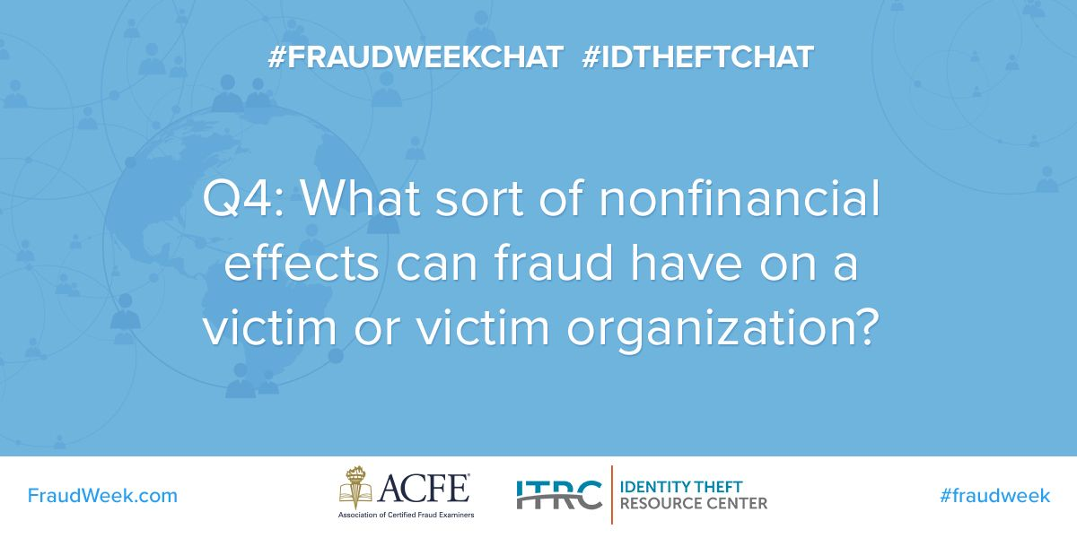 A4: The stress of dealing with fraud and #IDTheft can lead to mental and physical health issues. Follow @LACDMH and @LAPublicHealth for tips on coping with stress and staying healthy. #FraudWeekChat
