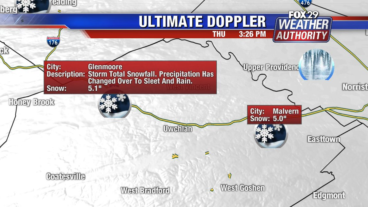 A few storm reports #Chester county @FOX29philly #snow #Glenmoore #Malvern
