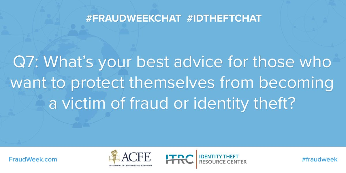 A7: If you're not making a major purchase anytime soon, freeze your credit. It's free! Check out some more tips on reducing your risk of #IDTheft here: https://t.co/D6exEGiwNE #FraudWeekChat