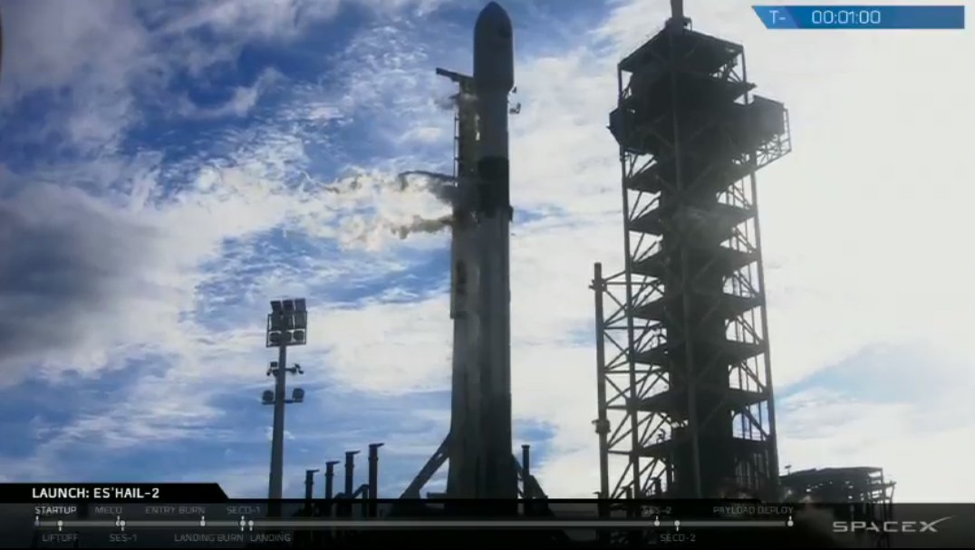 T-60 seconds until launch → spacex.com/webcast