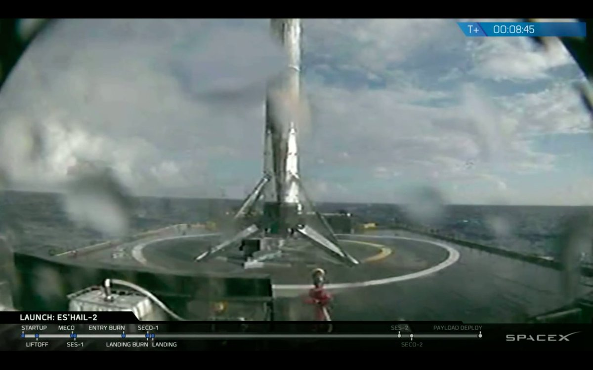"""Falcon 9's first stage has landed on SpaceX's drone ship 'Of Course I Still Love You,"""" back from its second trip to space. https://t.co/vr3ykjF86e"""