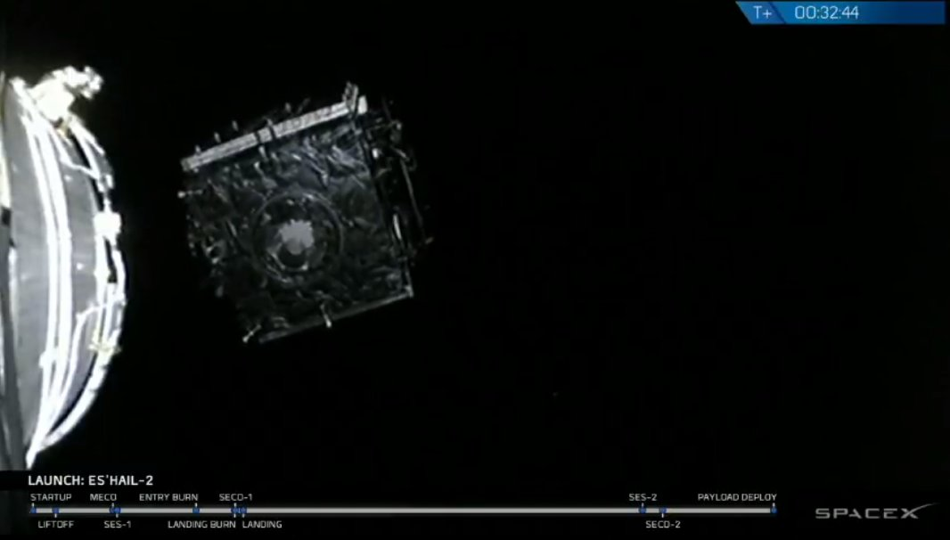 Successful deployment of Es'hail-2 to geostationary transfer orbit confirmed.