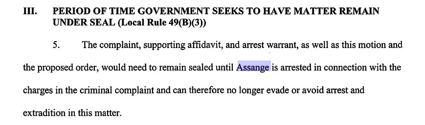SCOOP: US Department of Justice 'accidentally' reveals existence of sealed charges (or a draft for them) against WikiLeaks' publisher Julian Assange in apparent cut-and-paste error in an unrelated case also at the Eastern District of Virginia. https://t.co/wrjlAbXk5Z