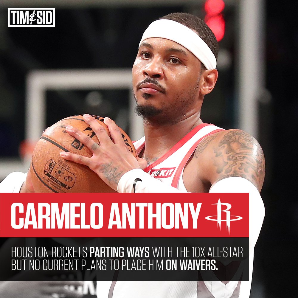 The Houston Rockets 🚀 are parting ways with Carmelo Anthony. He will remain on the roster, but won't rejoin the team. #NBA