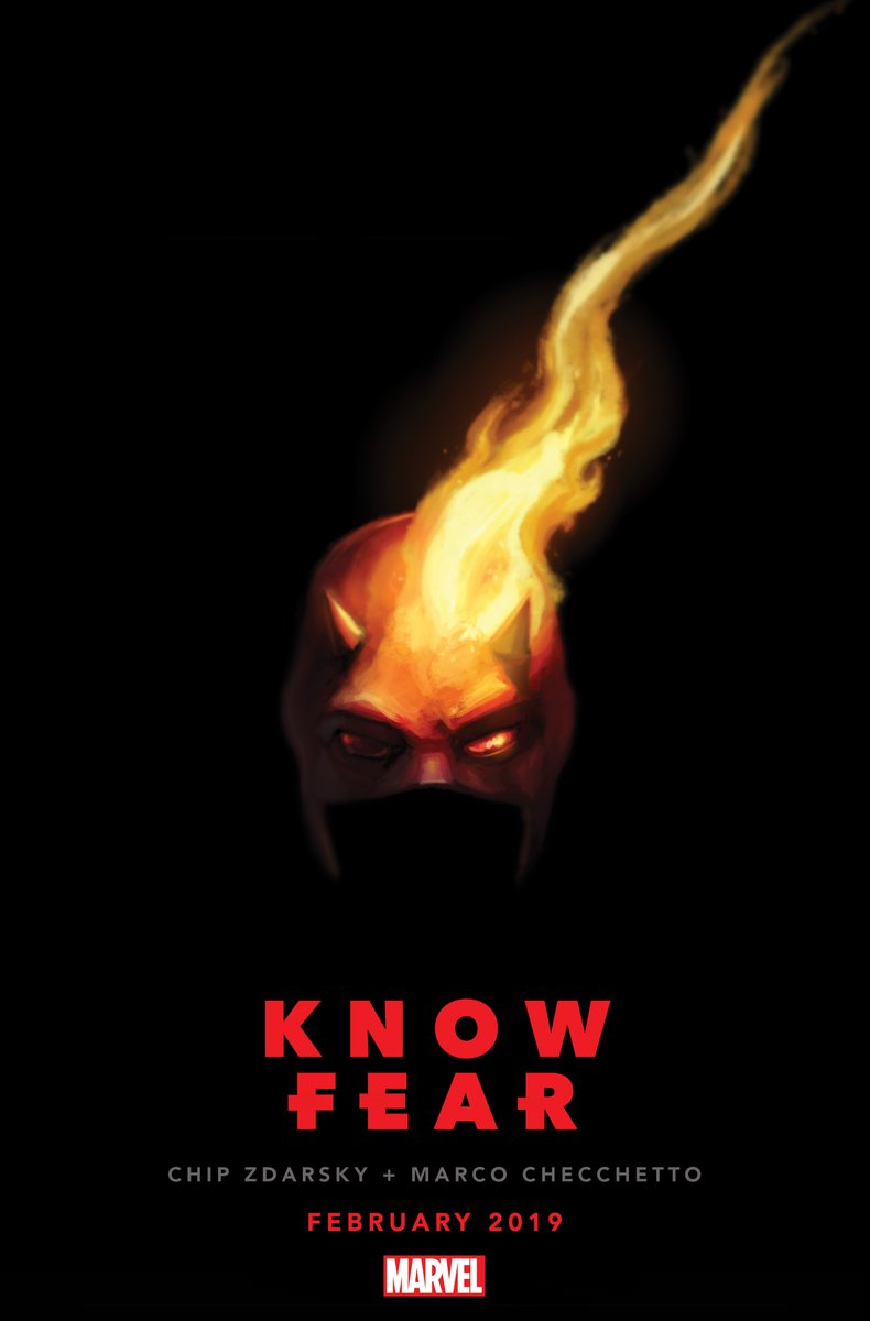 The official copy from Marvel: DAREDEVIL #1 Written by CHIP ZDARSKY Art by MARCO CHECCHETTO Covers by JULIAN TOTINO TEDESCO On Sale 2/6/19