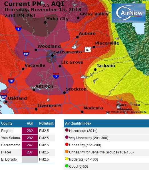Air quality continues to be very unhealthy to hazardous across the area. Stay indoors! #cawx #CampFire