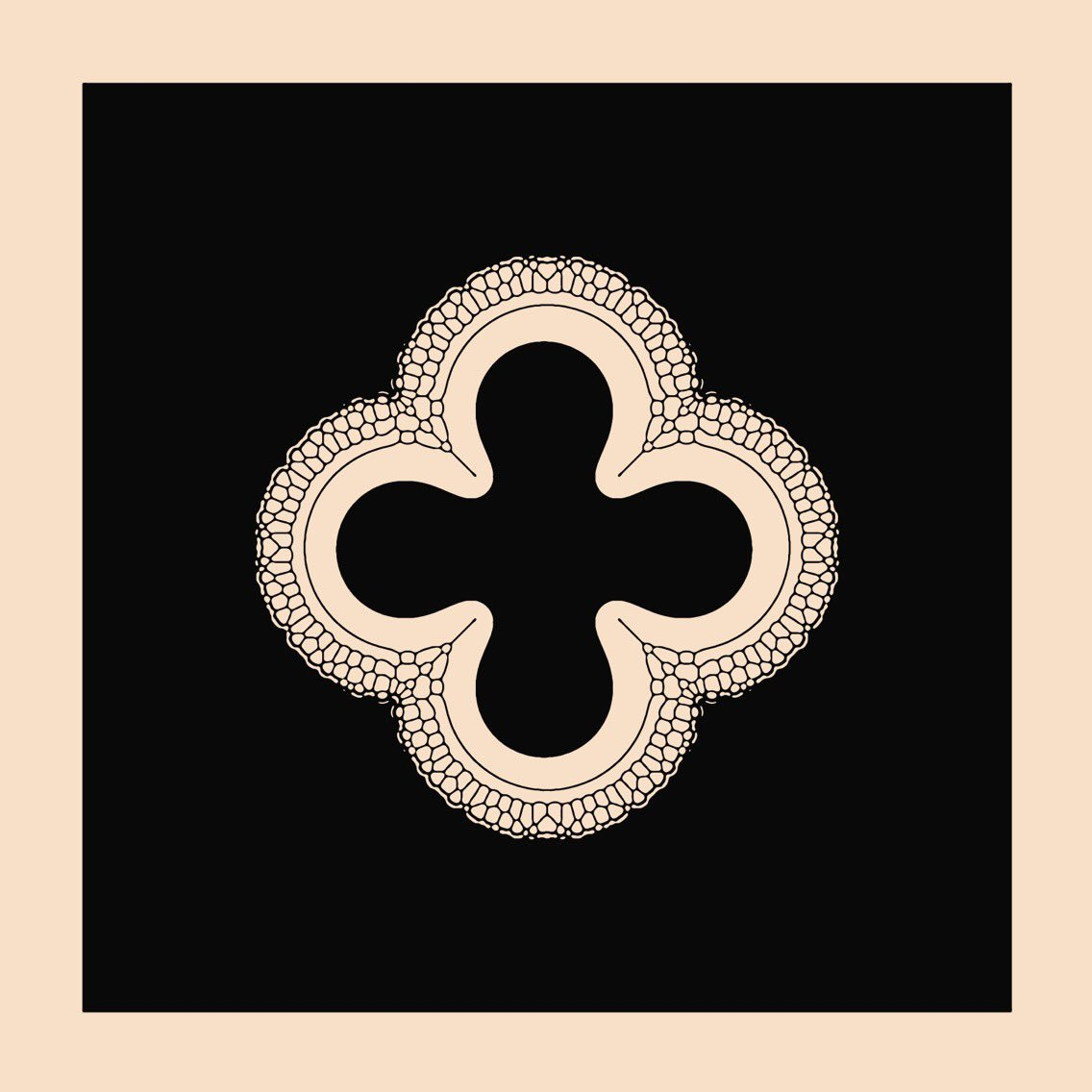 A quatrefoil given the #reactiondiffusion treatment. Just came back from a trip to #Paris and this shape is literally everywhere. From medieval architecture to manhole covers to everything in between.