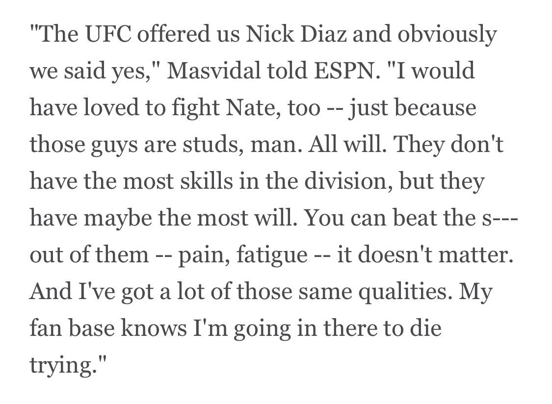 From my interview with Jorge Masvidal (@GamebredFighter) yesterday, on why he was hoping Nick Diaz would agree to fight him.