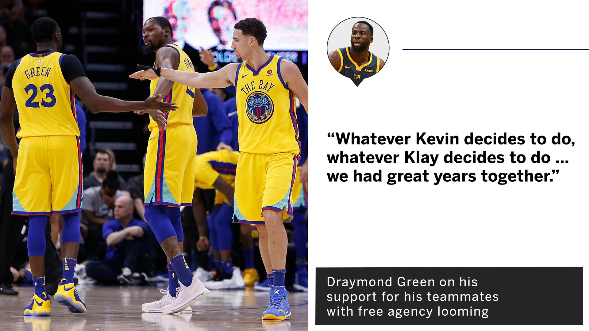 Draymond is ready to support his teammates, no matter their decision in free agency. https://t.co/DmCsDR4NHZ