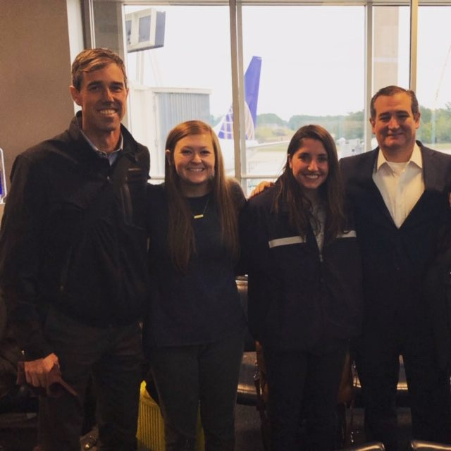 While waiting for a flight, @BushSchool students Tiffany Easter &amp; Keri Weinman captured a photo of Sen. @tedcruz &amp; Rep. @BetoORourke that has now gone viral!  &quot;At the end of the day, we're all Americans, and we have to find ways to come together.&quot; →  http:// tx.ag/lGHFzMF  &nbsp;  <br>http://pic.twitter.com/O9kji02fHM