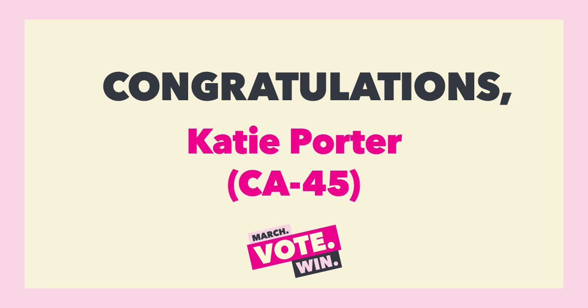 HUGE! Orange County, Calif., sends *another* champion of reproductive health care and rights to the U.S. House — and elects another woman to a Congress already set to have more women in its ranks than ever.  Congrats, @katieporteroc!