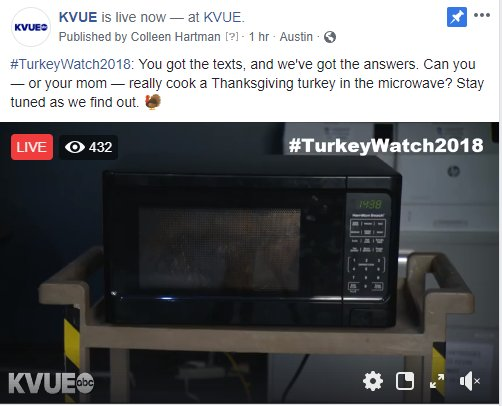 #TurkeyWatch2018: After 15 more minutes, we'll add more time to allow it to cook throughout the newscast! Tune in to @KVUE at 10 to see how the turkey turns out! 🦃 WATCH LIVE ==> https://t.co/xbWVcgW1GB