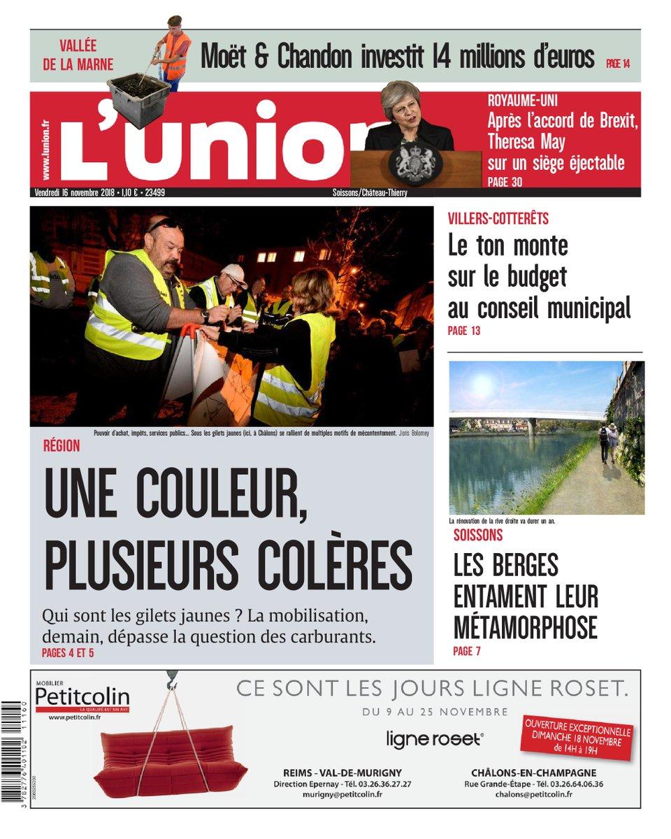 À la Une des éditions de l' #Aisne ce vendredi : -La colère des gilets jaunes, à la veille de leur mobilisation  #Laon #Soissons Consultez votre édition en ligne  ➡  https://t.co/tNsyMgG4y3