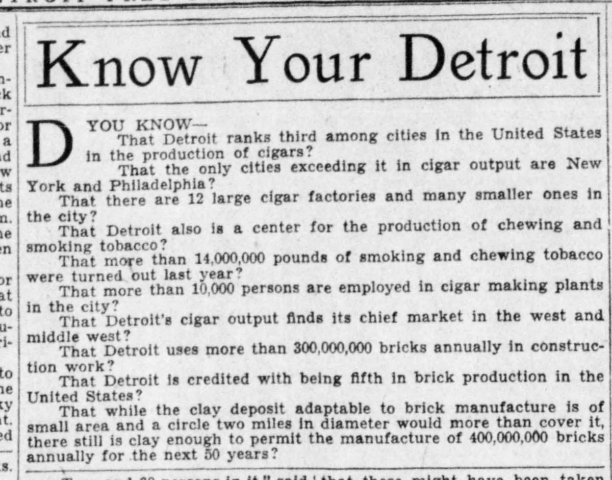 1928 : Detroit Ranks Third in Cigar Production