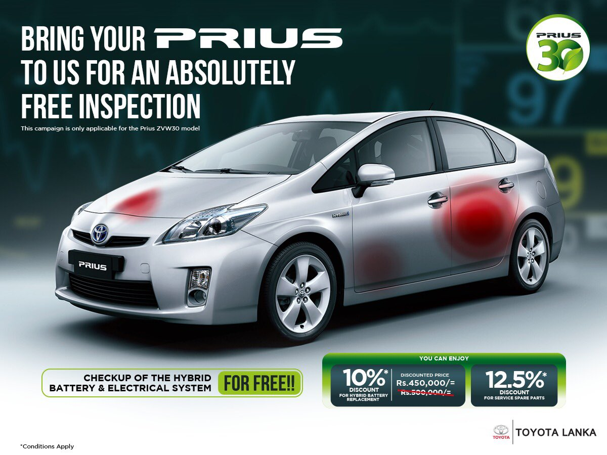 Get your Toyota Prius inspected for absolutely free while enjoying special discount rates for your hybrid battery replacement & service spare parts only at select Toyota Lanka centers.  For more details please call 011 2 939 000  *Conditions Apply https://t.co/NrotbBJojd