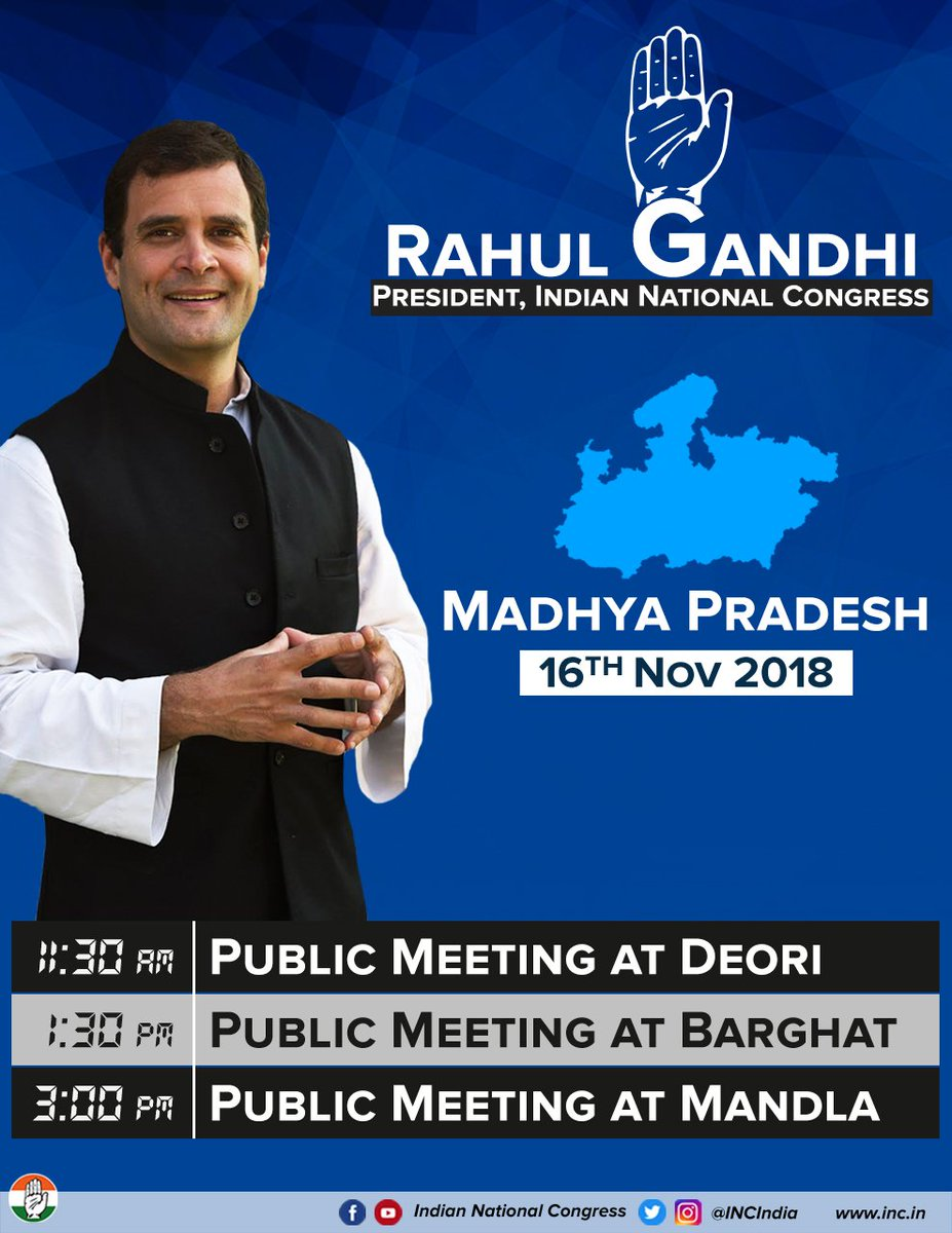 Congress President @OfficeOfRG will be in Madhya Pradesh today to address several public rallies & meetings.   Catch his speeches live on our social media channels:   Facebook:  Youthttps://t.co/NPOcx48kHNube: https://t.co/g2POk7bvU1