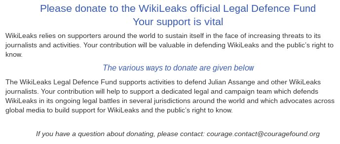 Protect Julian Assange and WikiLeaks staff from extradition. Contribute to the @wikileaks Defense Fund (independently audited by the Courage Foundation): Bitcoin, Zcash, Paypal, Visa, Amex and more:  https://t.co/E1QbYJL4bB