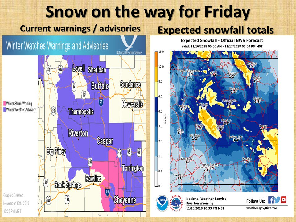 Winter weather advisories have been issued for much of northern and central Wyoming starting at 11 am Friday. A more detailed video briefing will be online tomorrow morning around 6 am. #wywx #wyoroad
