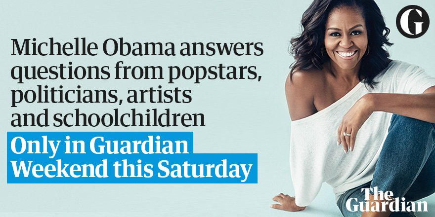 Don't miss America's former first lady, @MichelleObama, answering the questions that matter – in @guardianweekend magazine today