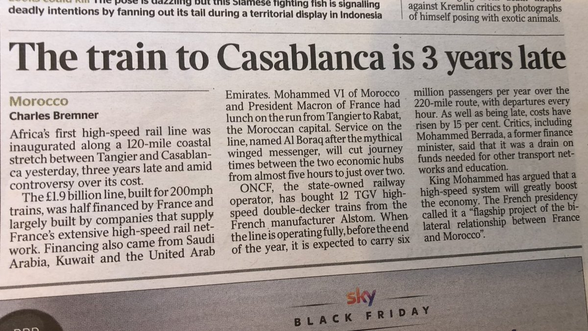 Hey, you know how in Australia we talk about high speed rail every 2 years or so but never do anything about it? Morocco's just built its first line, (with French help) cutting journey times between Tangier and Casablanca from 5 hours to 2.  (Via today's )