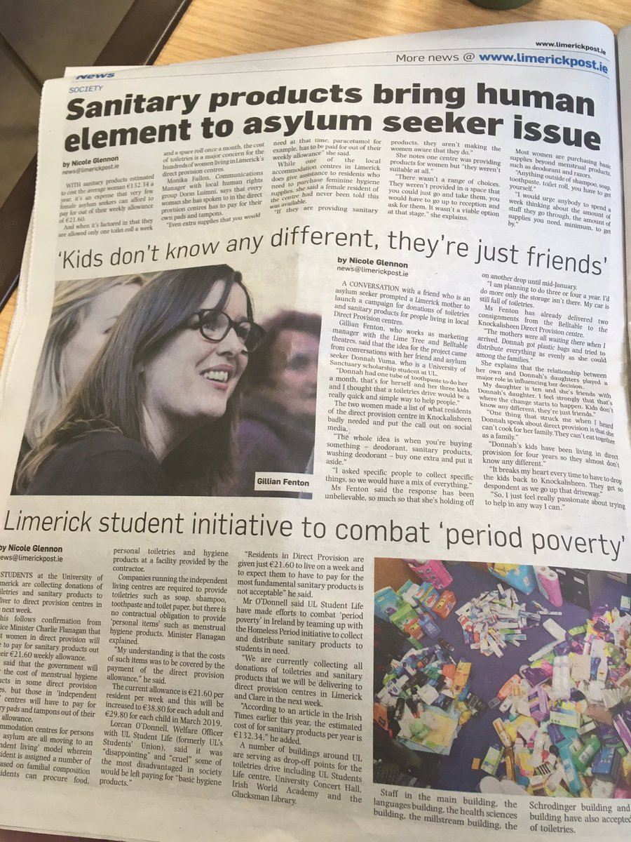 I've a couple of pieces in the post this week about direct provision and student and staff led campaigns in UL. Looking forward to seeing what @UL_StudentLife have planned next  #EndDirectProvision<br>http://pic.twitter.com/lYGPKb3DTK