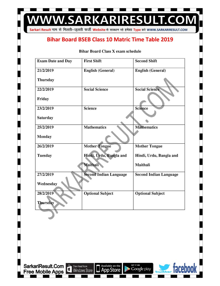 Make the time table  up board 12th  pdf sarkari result
