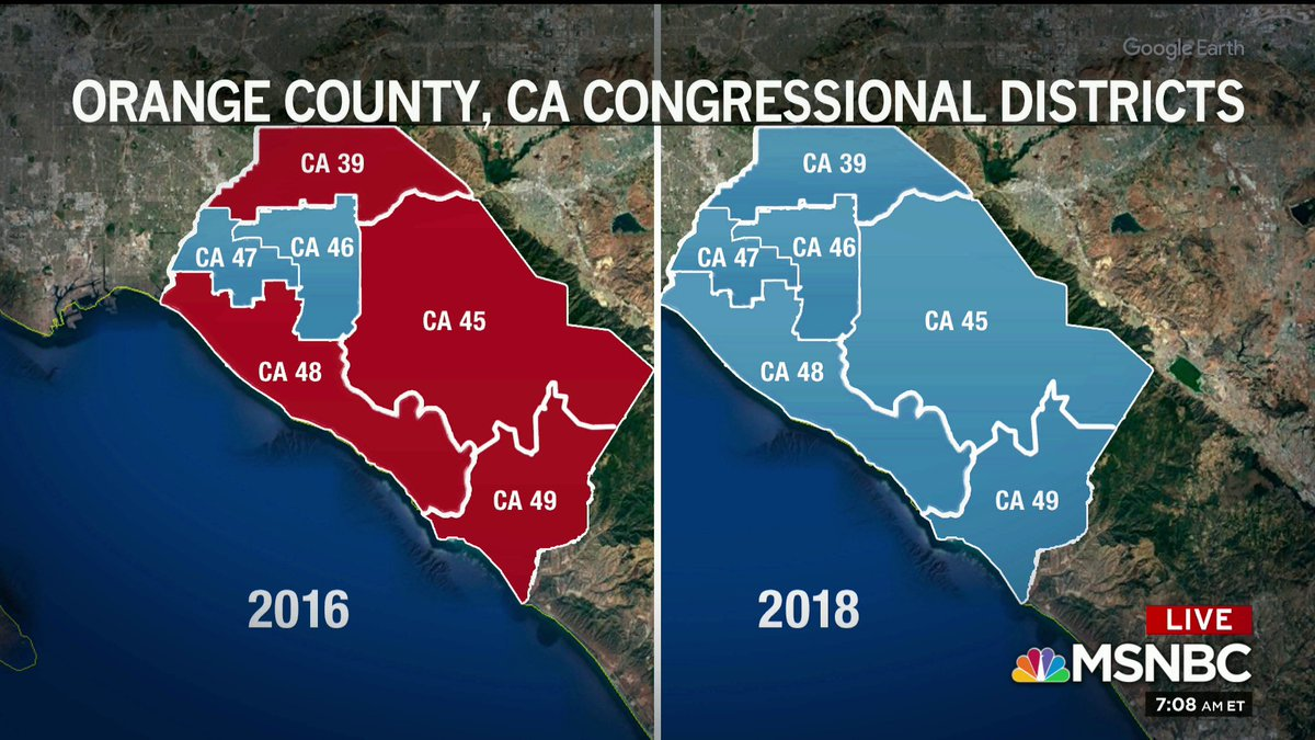 the OC blue wave -- Congressional districts in Orange County, Calif. in 2016 and in 2018 (via @Morning_Joe)<br>http://pic.twitter.com/iNr746Qm3X
