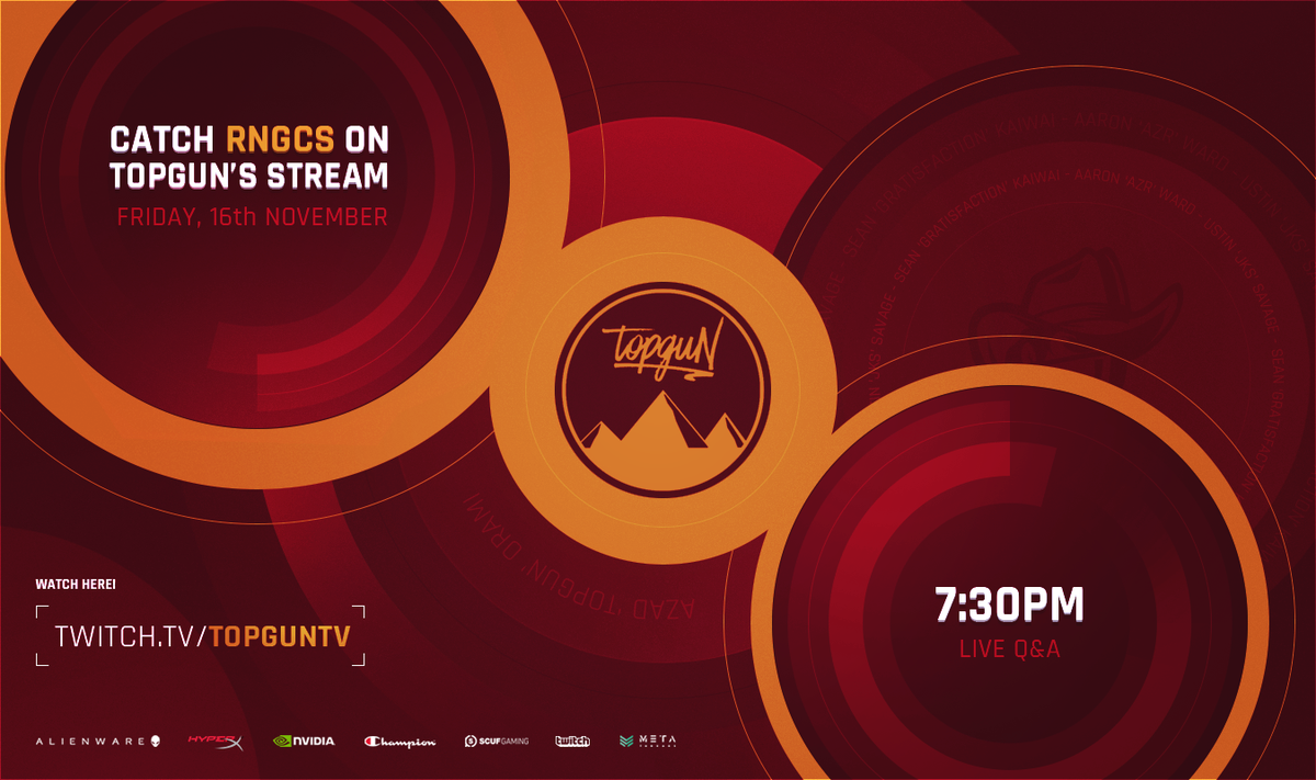 moments away from having the legends @Azr @RNGjks @GratisfactionNZ from @Renegades on http://twitch.tv/officialtopguN thanks to #RNGTV be sure to tune in - subs get to ask questions! (stupid ones will be ignored, unless they're from me)