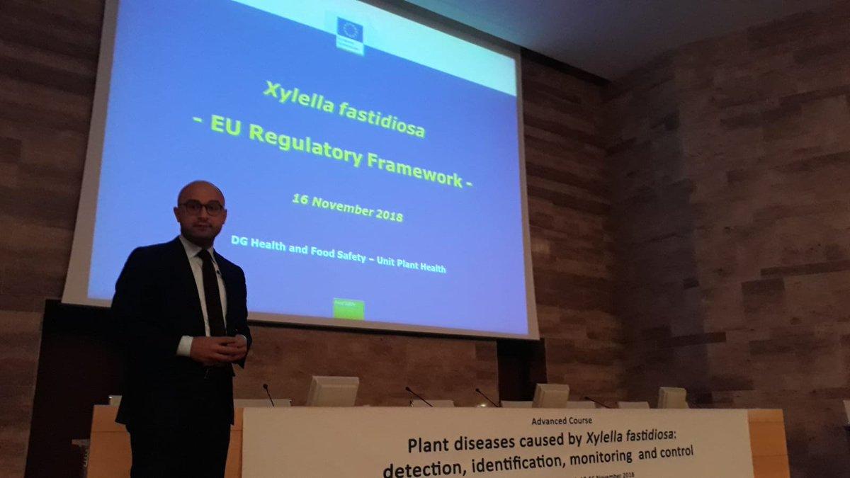 Last day of @IAMZCIHEAM advanced course on #PlantDiseases caused by #xylellafastidiosa, in #Zaragoza. Dr Di Rubbo #DGSANTE presents last updates on @EU_Commission legislation. #Xylella18 #XFIAMZ @xf_actors @cure_xf