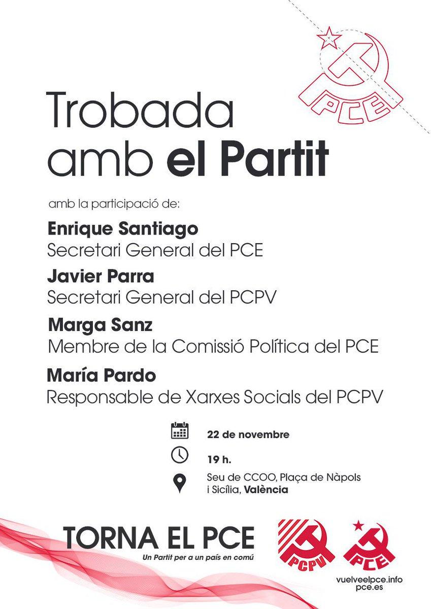 Presentem la campanya #VuelveElPce al País Valencià. Amb @ensanro, @javier_parra, @Marga_Sanz y #MaríaPardo. Ens veiem el pròxim #22Novembre! Us esperem per parlar dels nostres objectius polítics i el treball que hem de desenvolupar per a transformar la societat #FemPartit
