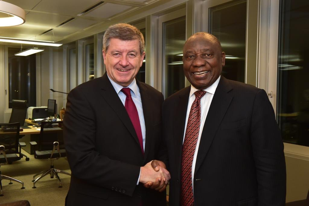 President @DPRamaphosa and the Director-General of the International Labour Organization, Mr Guy Ryder, at a bilateral meeting ahead of the 4th Meeting of the Global Commission on the  at#FutureofWork the International Labour Organization Headquarters in Geneva, Switzerland