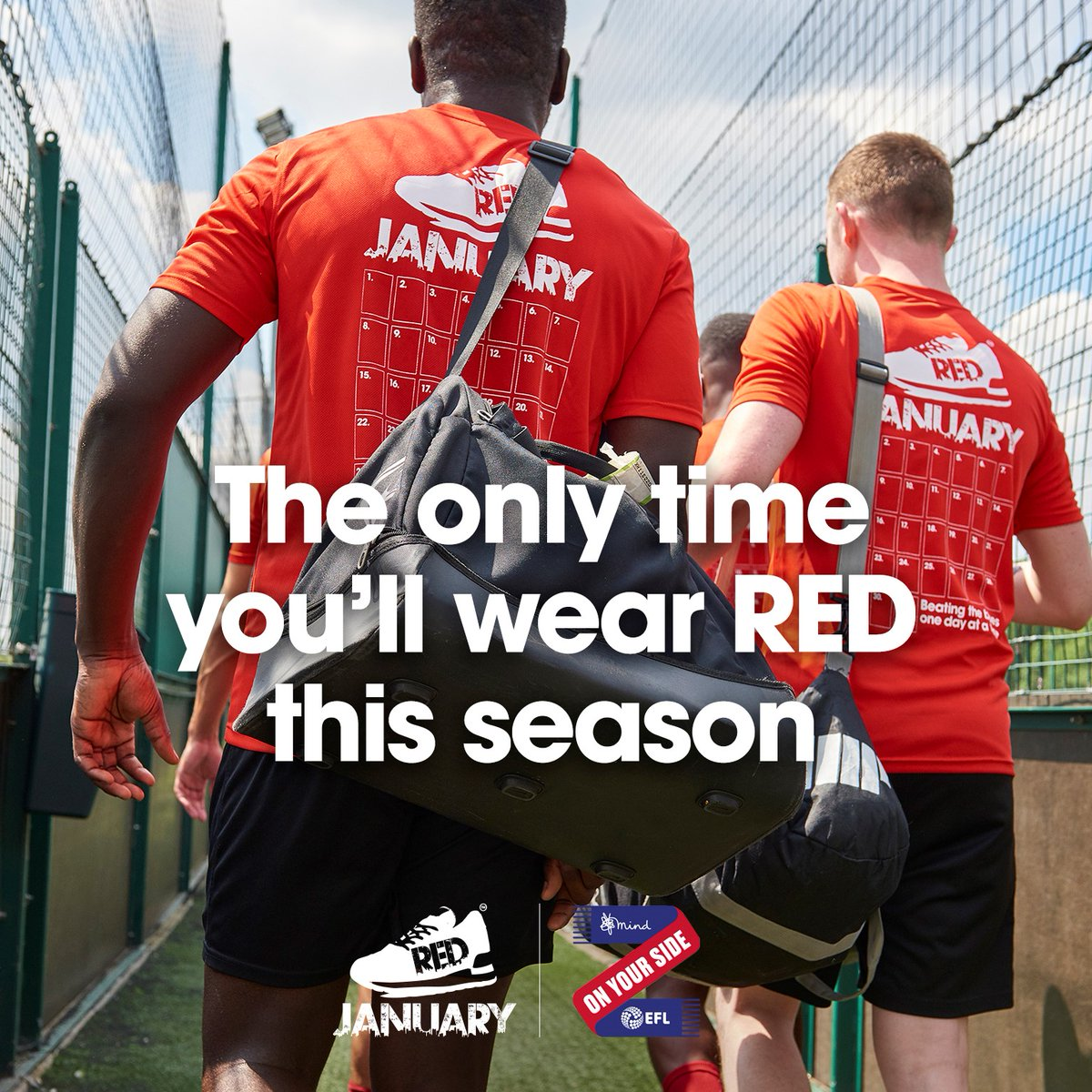 Bolton Wanderers are tackling mental health with @REDJanuaryUK this season. Register for FREE at football.redtogether.co.uk and get active every day in January to support @EFL's partner @MindCharity. #REDJanuary #OnYourSide #BWFC 🐘🏰