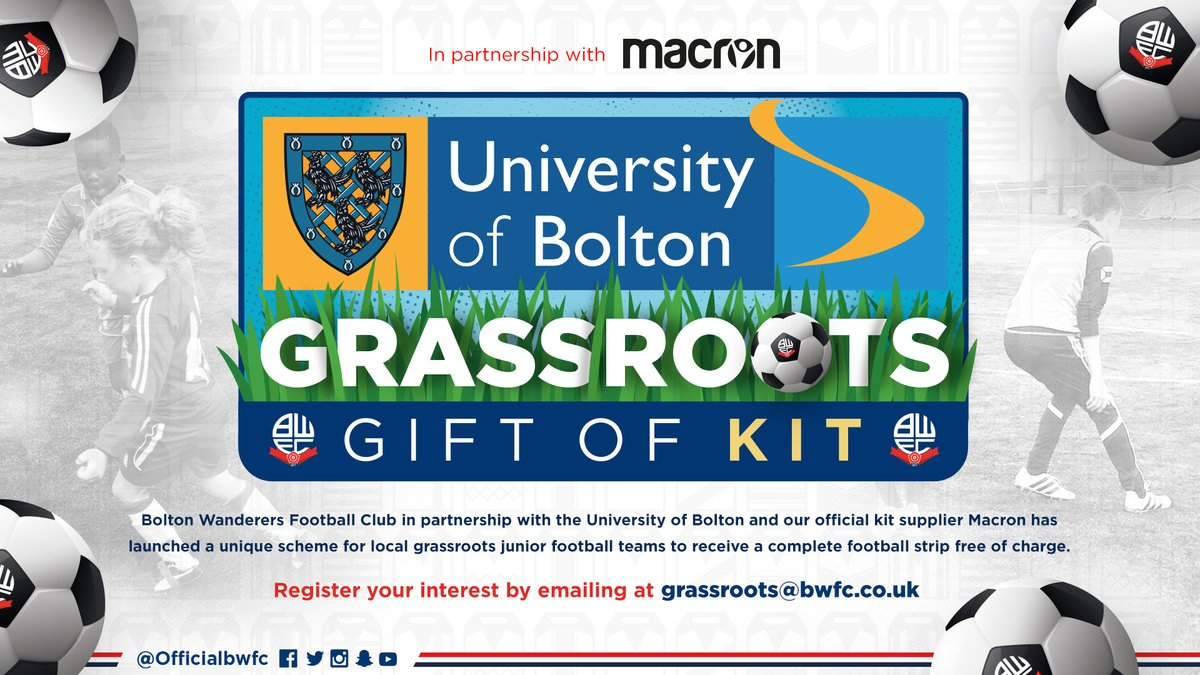 ⚽️ Weve been inundated with requests so far for our Gift of Kit grassroots junior football teams initiative. Theres still time to get involved in this superb opportunity though! 👉🏻 bit.ly/2PWzRUH #BWFC 🐘🏰