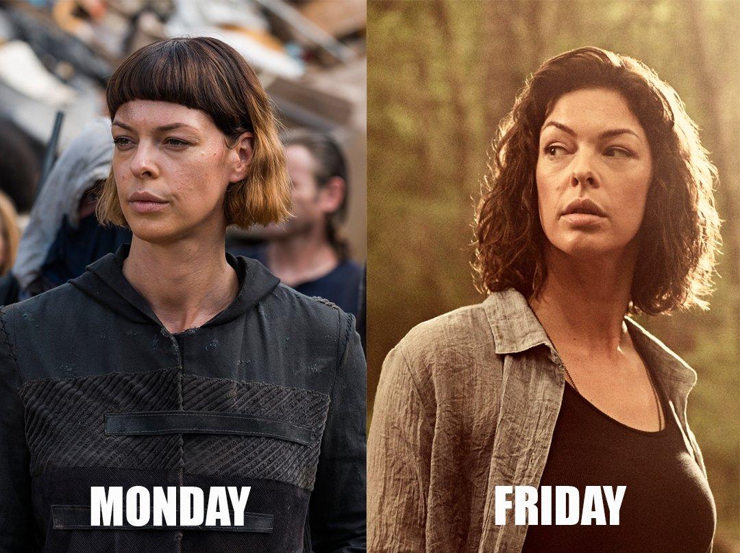 Us from Monday to Friday...  #FridayFeeling #FridayMotivation @TheWalkingDead<br>http://pic.twitter.com/JmpADB5RcA
