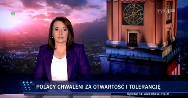 """Notes from Poland 🇵🇱 on Twitter: """"'Poles praised for openness and  tolerance,' reads the headline on state news. In the segment, the only two  people they show praising Poland's tolerance are a"""