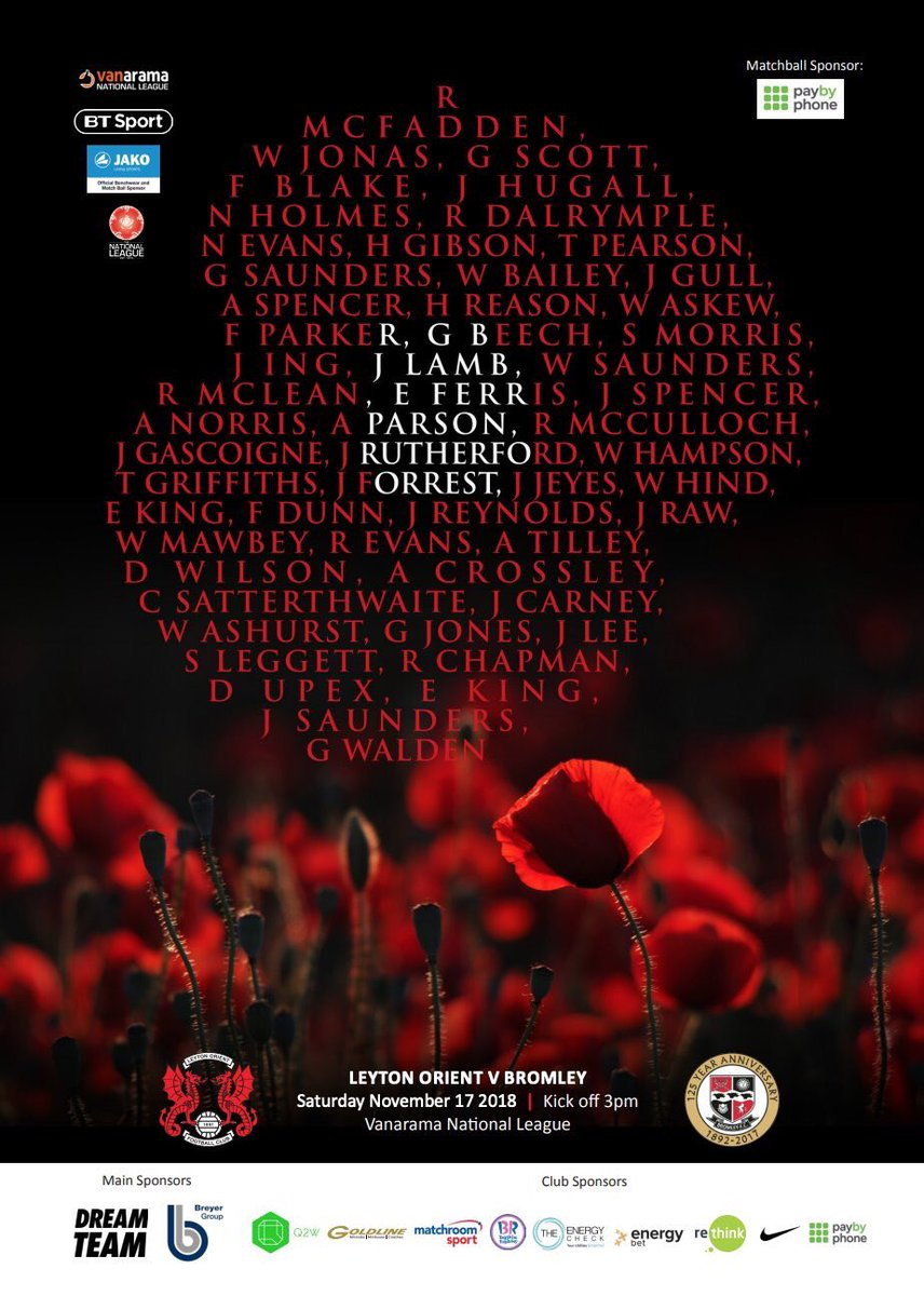 👀 A first look at tomorrow's E10 Matchday Magazine cover as the O's mark 100 years since the end of World War I.   Make sure to pick up your copy for £3 tomorrow.   #LOFC #OnlyOneOrient