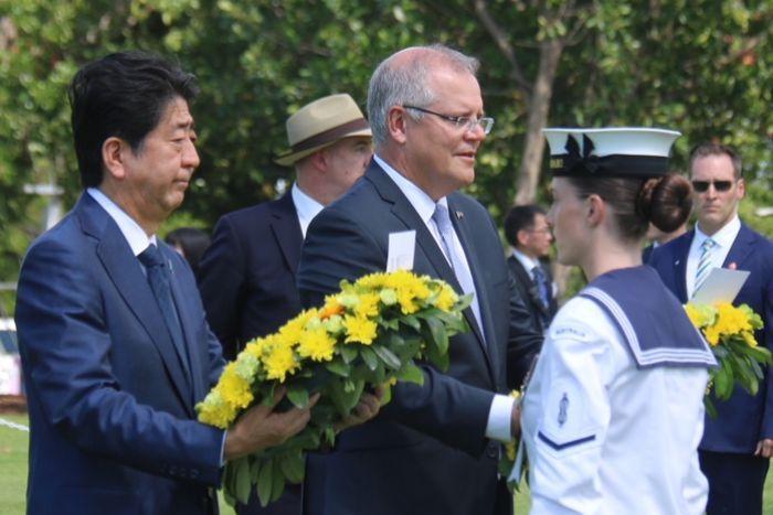 Japan's Prime Minister Shinzo Abe visits Darwin for first time since World War II bombing https://t.co/9PyfjjK2L1