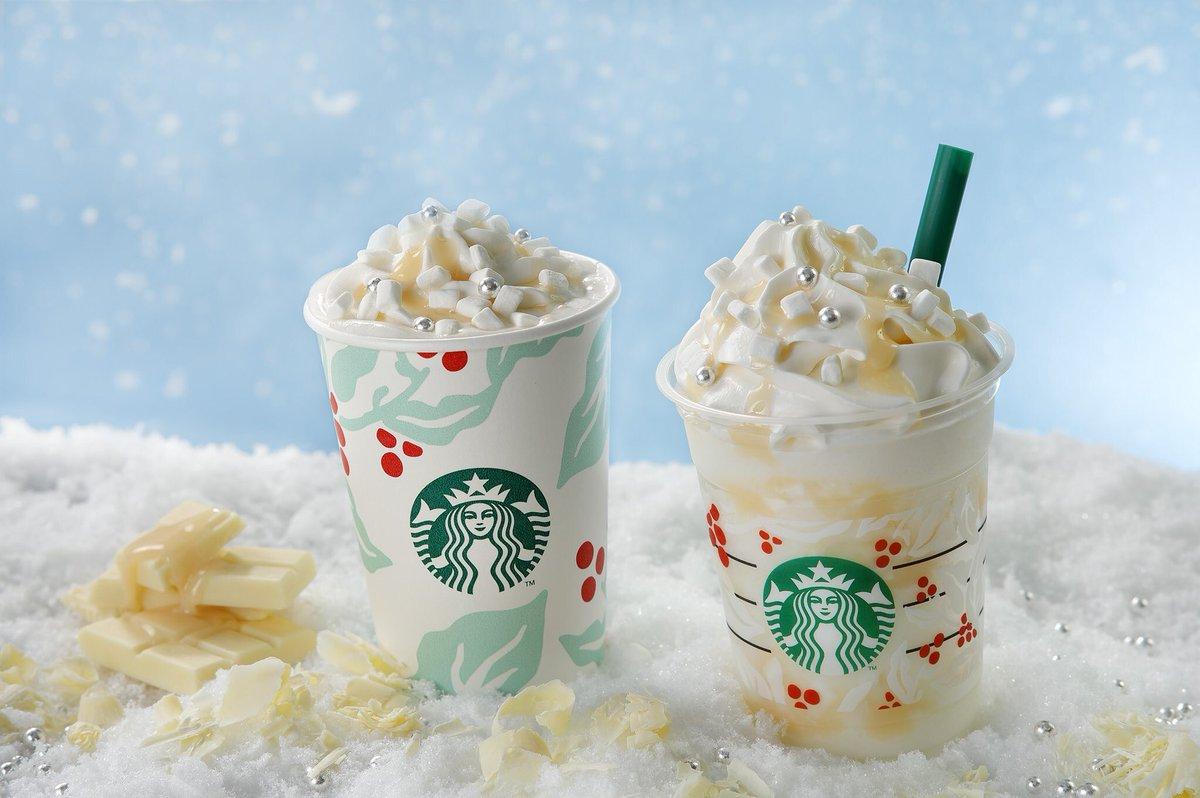 11月22日より12月25日までスターバックスから、「ホワイト チョコレート スノー フラペチーノ」と「ホワイト チョコレート スノー」が新発売されます✨